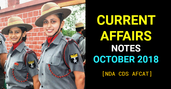 CURRENT AFFAIRS NOTES OCTOBER 2018