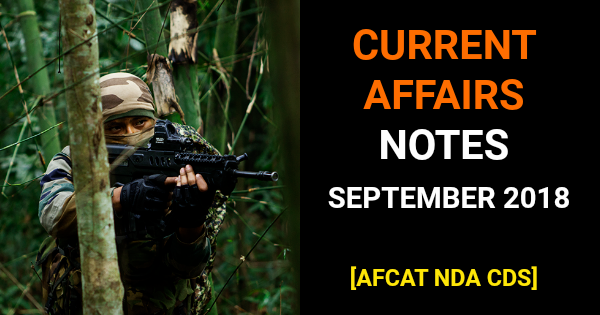 Current Affairs September 2018 Questions